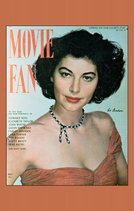Framed Ava Gardner On Movie Fan Print