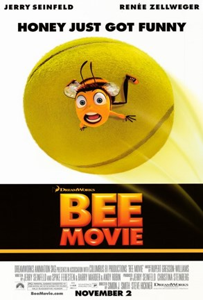 Framed Bee Movie Tennis Ball Print