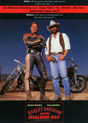 Framed Harley Davidson and the Marlboro Man Print