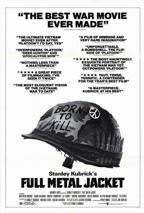 Framed Full Metal Jacket Black and White Print