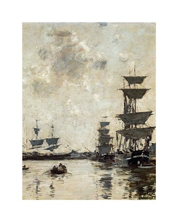 Framed Deauville: Schooners at Anchor Print