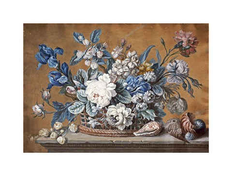 Framed Basket of Dahlias, Delphiniums Print