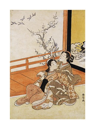 Framed Two Women Seated By a Verandah Print