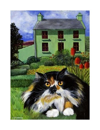 Framed Persian Cat in Ireland Print