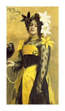 Framed Portrait of a Lady In a Yellow and Black Gown Print