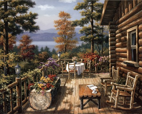 Log Cabin Porch Fine Art Print By Sung Kim At