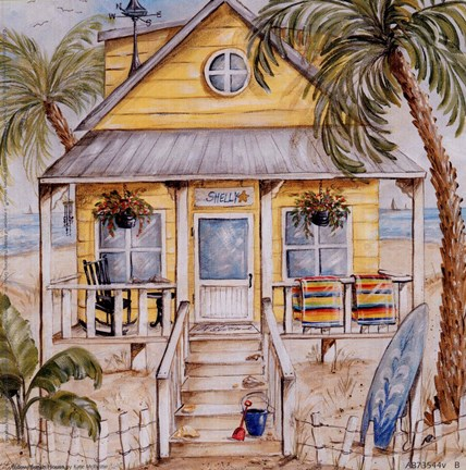 Yellow Beach House Fine Art Print By Kate Mcrostie At
