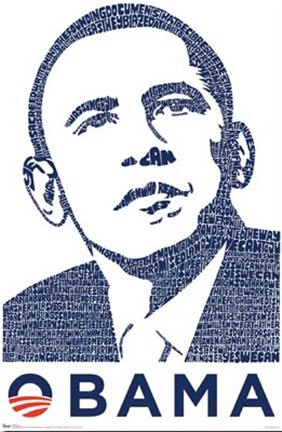 Framed Barack Obama - Words into Image Print