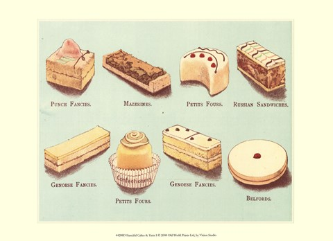 Framed Fanciful Cakes & Tarts I Print