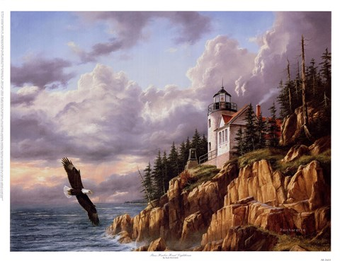 Framed Bass Harbor Head Lighthouse Print