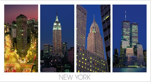 Framed Flatiron Building, the Empire State Building, the Chrysler Building and the World Trade Center Print