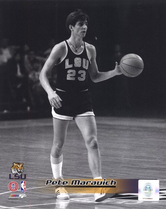 Framed Pete Maravich Louisiana State Tigers 1969 Action Print