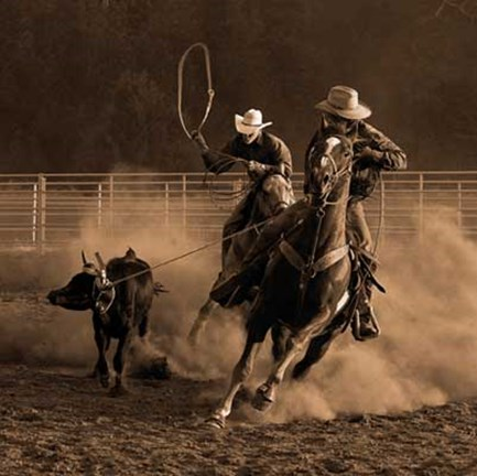 Framed Roping on the Ranch III Print