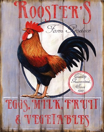 Framed Rooster's Farm Produce Print