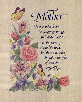 Mother Tribute Poem Fine Art Print By Unknown At