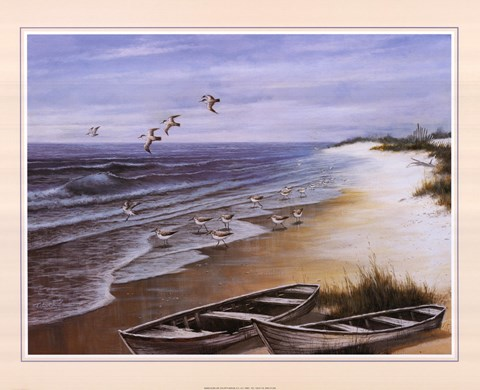 Framed Two Rowboats on Beach Print