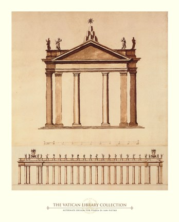 Framed Alternate Design For Piazza di San Pietro, (The Vatican Collection) Print