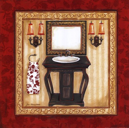 Framed Red Demask Bath II Print