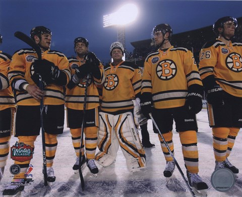 Framed Boston Bruins Post-Game Lineup 2010 NHL Winter Classic Print