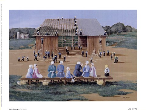 Barn Raising Fine Art Print By Ann Mount At Fulcrumgallery Com