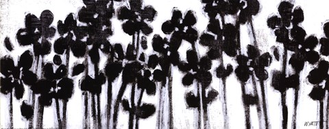 Framed Black Flowers on White II Print