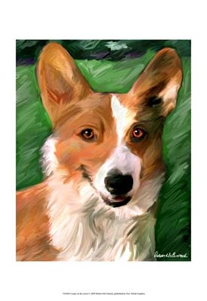 Framed Corgie on the Lawn Print