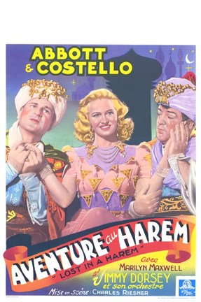 Framed Abbott and Costello, Lost in a Harem, c.1944 Print