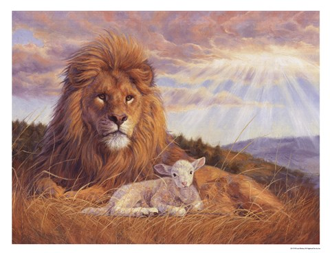 Lion And Lamb Fine Art Print By Lucie Bilodeau At
