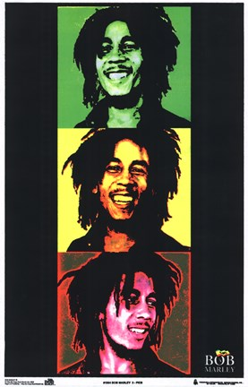 Framed Bob Marley (blacklight, triptych) Print