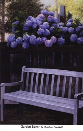 Framed Garden Bench Print