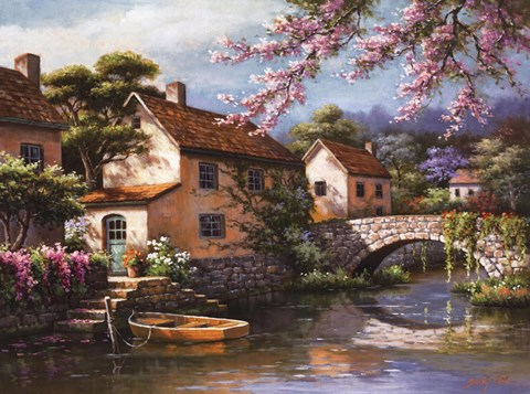 Framed Country Village Canal Print