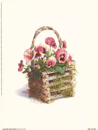 Framed Log Cabin Pansy Basket Print