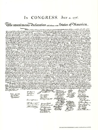 Framed Declaration of Independence (Document) Print