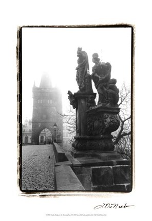 Framed Charles Bridge in Morning Fog II Print