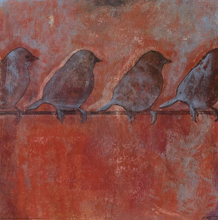 Framed Row of Sparrows II Print