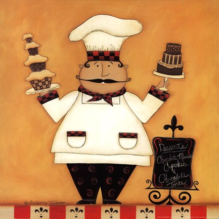 Framed Chef with Desserts Print