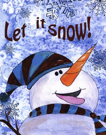 Framed Let it Snow Snowman Print