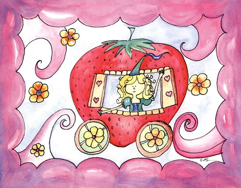 Framed Strawberry Carriage Print