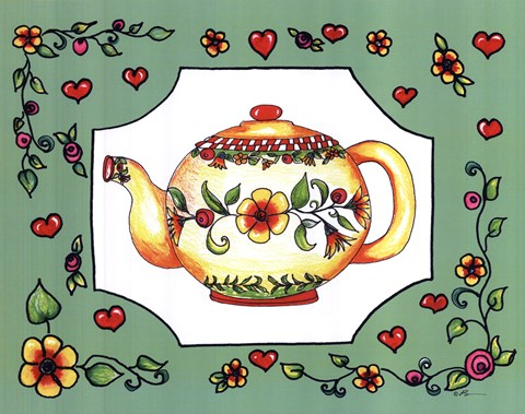 Framed Teapot with Green Floral Print