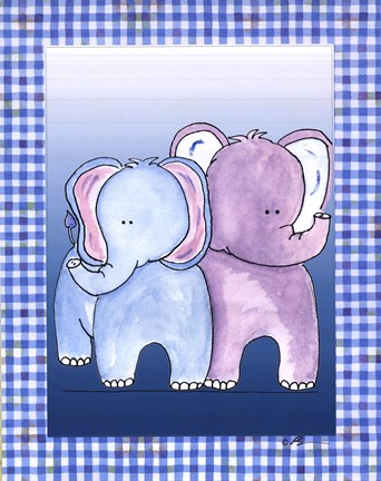 Framed Two by Two Blue - Elephant Print