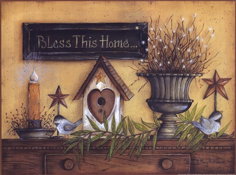 Framed Bless This Home (shelf) Print