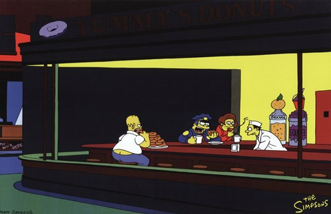 Framed Simpsons Nighthawks Spoof Print