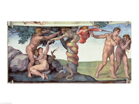 Framed Sistine Chapel Ceiling (1508-12): The Fall of Man, 1510 Print