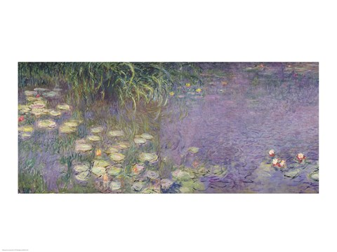 Framed Waterlilies: Morning, 1914-18 (left section) Print