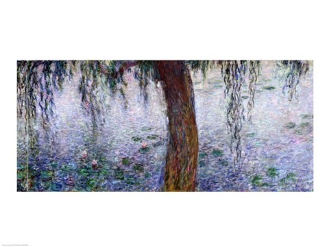 Framed Waterlilies: Morning with Weeping Willows, detail of the right section, 1915-26 Print