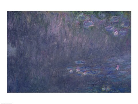 Framed Waterlilies: Reflections of Trees, detail from the left hand side, 1915-26 Print