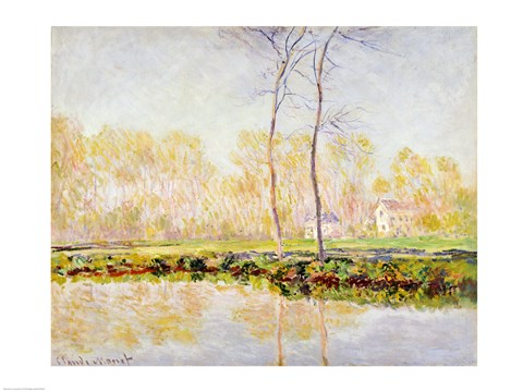 Framed Banks of the River Epte at Giverny, 1887 Print