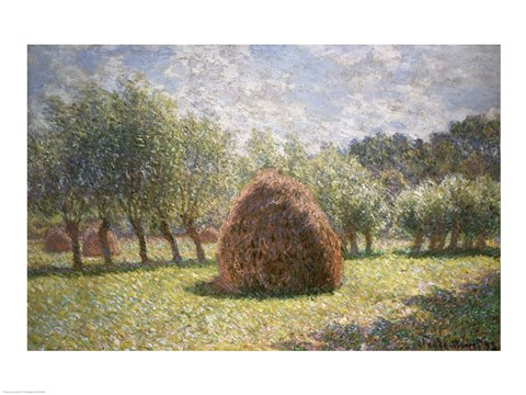 Framed Haystacks at Giverny, 1893 Print