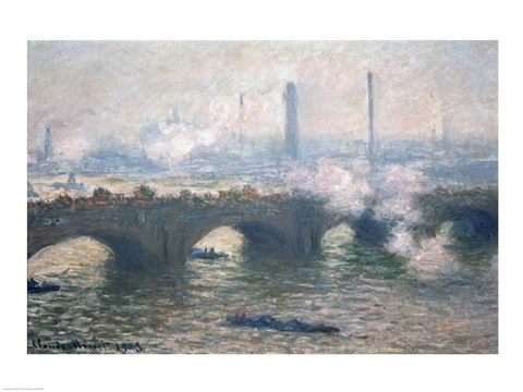 Framed Study of Waterloo Bridge at Dusk, 1903 Print