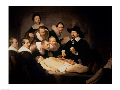 Framed Anatomy Lesson of Dr. Nicolaes Tulp, 1632 Print